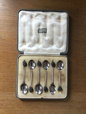 Vintage Harrods Set Of 6 Solid Silver Cased Coffee Bean End Coffee Spoons London