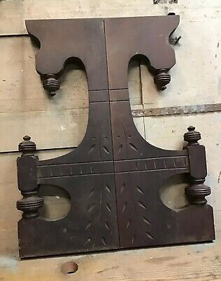 "1 Pair Vintage Corbel Shelf Brackets - Carved Wood - Large - 23"" Tall"