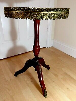 Antique French Style 20th Century Round Marble Onyx Brass Wood Occasional Table