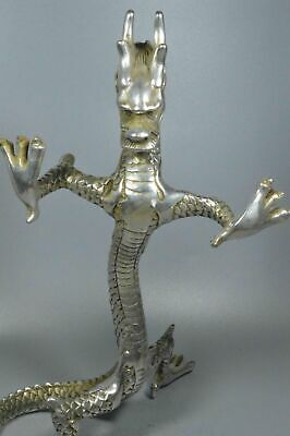 China Collectable Handwork Miao SIlver Carve Roar Dragon Auspicious Tibet Statue