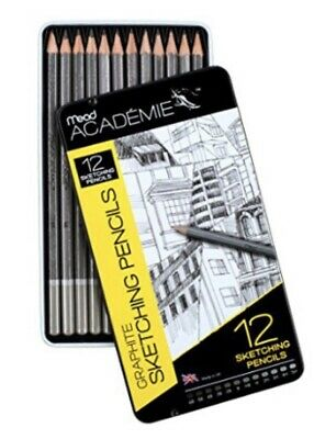 Pack of 12 Mead Academie Graphite Sketching Pencils, 6B to 5H (98020)