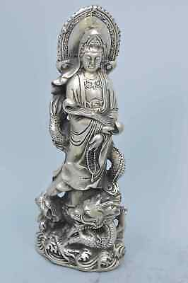 China Collectable Miao Silver Carve Kuan-Yin Ride Dragon Auspicious Tibet Statue