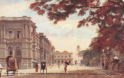 R135130 General Post Office. Colombo on left. Entrance to Queens House and Clock