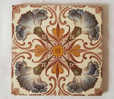 ELEGANT 19TH CENTURY SYMMETRICAL FLORAL THEME 6 INCH TILE colourful