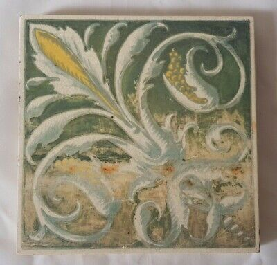 Charming Unusual Minton Shabby Chic Hand Painted Regal Design Victorian 6' Tile