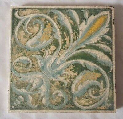 Elegant Unusual Minton Shabby Chic Hand Painted Victorian 6 Inch Tile