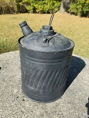 Vintage Gasoline Can Two 2 Gallon Kerosene Metal Gas Can Black