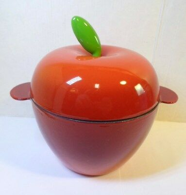 "Vintage ILSA Enameled CAST IRON RED APPLE BAKER Dutch Oven Italy COCOTTE 5"" Tall"
