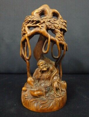 """Fine Chinese Old Boxwood Hand Carving """"LuoHan"""" Buddha Statue Sculpture"""