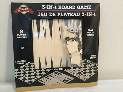 Classic Games 3 in 1 Board Game ( Chess Checkers Backgammon ) Set  NWT