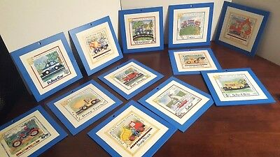 12 Wooden Blue Automobiles, Trucks Boats Career Boats sign by Lila Rose Kennedy