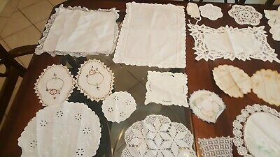 Lot Of Marked Lace Doilies Napkins Small Cloths