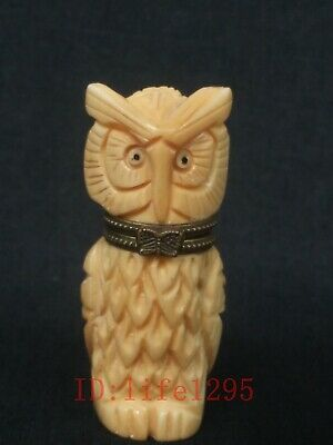 Collection Ornaments Asian Chinese Old Hand Carved Vivid Lovely Owl Snuff Box
