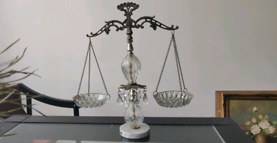 Vintage Scales of Justice brass and Italian marble