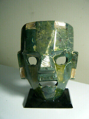 Mayan Aztec Green Agate Abalone Burial Death Mask Mexican Folk Art Display