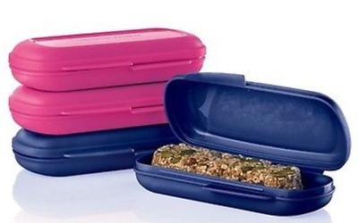 Tupperware Snack & Granola Bar Keepers Set of 4 in Blue & Pink New