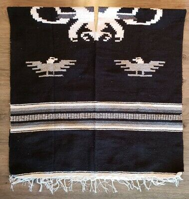 Mexican Poncho Eagle Heavy Blanket Black Cape Reversible Serape Traditional OSz