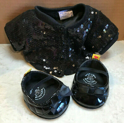 Build A Bear black sequin jacket and dress shoes