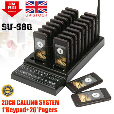 20CH Restaurant Wireless Coaster Pager Guest Call Paging Queuing Calling System