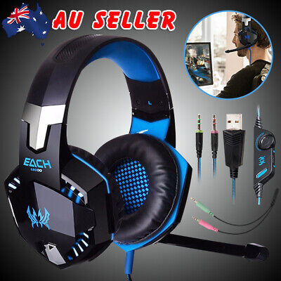 Stereo Gaming Headset MIC LED Headphones for PC Laptop PS4 Slim Pro Xbox One 360