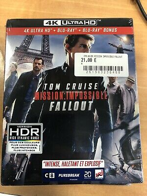 4K Ultra Hd + Blu Ray + Blu Ray Bonus ** Mission Impossible Fallout ** Neuf