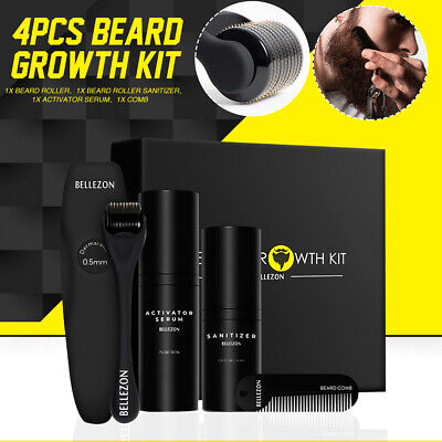 45ML Beard Growth Kit Set Facial Styling Activator Serum Oil With Roller Comb AU