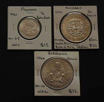 3 Silver Coins Panama,Hungary,Bermuda.Free Registered Post.