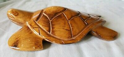 Wooden Carved Sea Turtle Sculpture