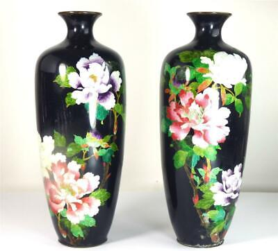 Pair Antique Japanese Meiji Cloisonne Vases Ginbari Flowers Cobalt Blue