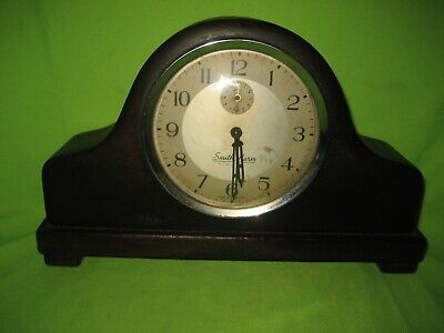 Antique /Vintage Smith Alarm  Wooden Napoleon Hat Style Mantel Clock