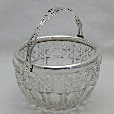 Antique Sterling Solid Silver & Glass Sugar Bowl Swing Handle 1904  (1169-B-LAY)