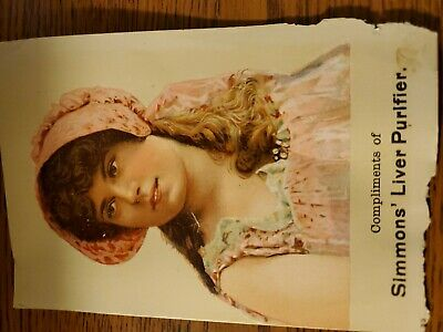 Antique Trade Card Advertising Simmons Liver Purifier medicine 1890 Crawford Tx