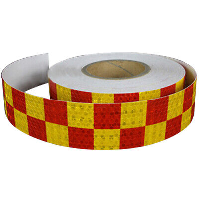 1M Reflective Safety Warning Conspicuity Tape Sticker, Red+yellow G8N5
