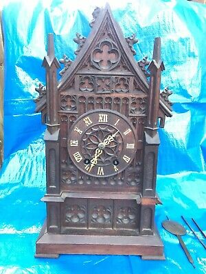Rare Large  Gothic  Double Fusee  Black Forest  Bracket  Cuckoo Clock Circa 1865
