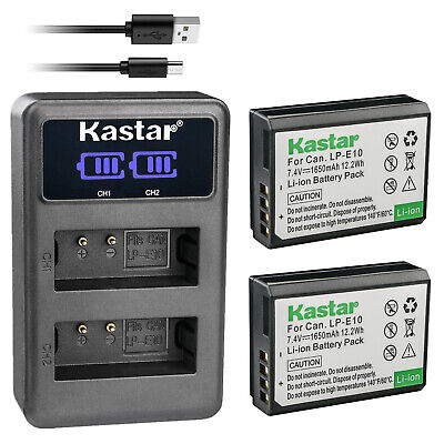 Kastar 2x Battery LP-E10 + Charger For Canon Rebel T3 T5 T6 T7 1100D 1300D 3000D