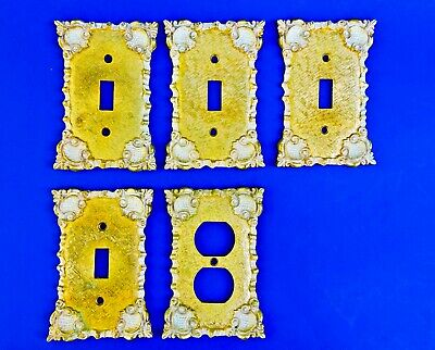 Vintage Lot 5 Brass Victorian Style Switch Plate Outlet Covers 1970 Florenta Cal