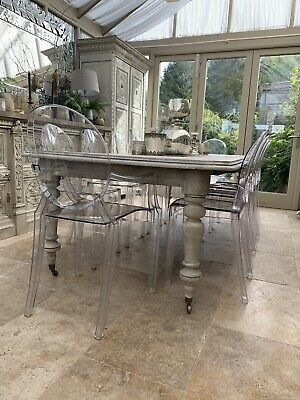Antique Extendable  Dining Table Solid Wood  Two Leaves 2,4m On Brass Castors