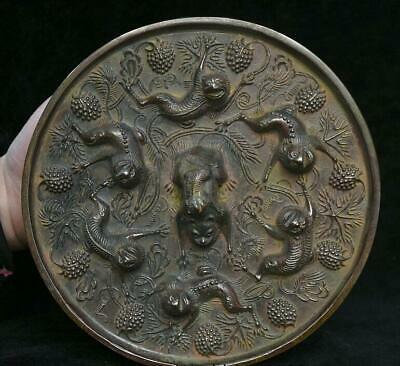 """7.2"""" Antique Old Chinese Bronze Ware Dynasty Palace Animal Beast bronze mirror"""