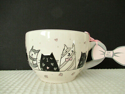 10 Strawberry Street Whimsical Cupboard Pink Bow Cat 24oz Handled Mug New