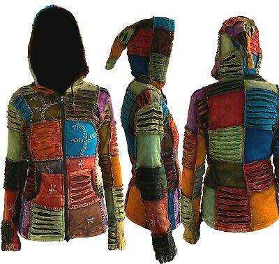 Ladies Hippie Embroidered Patched Ribbed Cut Pointed Elf Hooded Retro Jacket