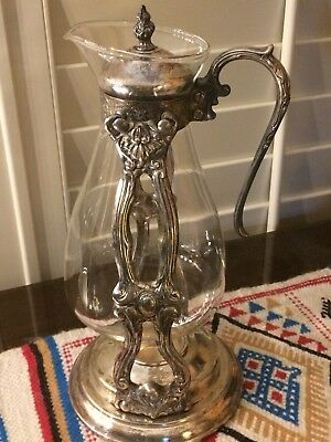 Vintage Silverplate Glass Coffee Warmer Server Pitcher With Top