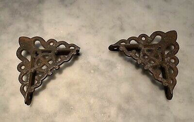 2 Original Antique 1880 Gothic Victorian Screen Door Brackets Cast Iron Hardware