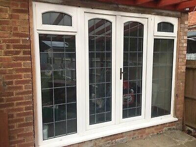 White Upvc French Doors With Frame Side Windows Panels 3