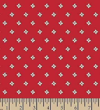 "BTY RED PAGODAS ORIENTAL 100/% COTTON FABRIC 44/"" QUILTING MARY FONS SMALL WONDERS"