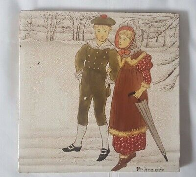 GORGEOUS 19TH CENTURY WEDGWOOD 'FEBRUARY' helen miles cououred 6 INCH TILE