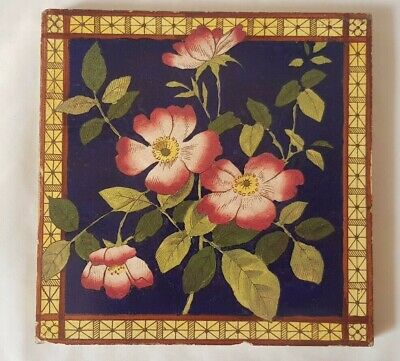 colourful english FLORAL DESIGN 6 INCH 19TH CENTURY TILE
