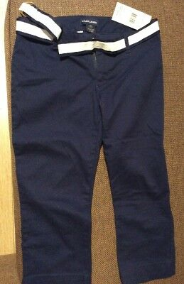 NEW Ralph Lauren Kids | Girls Navy Trousers w/White Belt | Age 10yrs RRP £69