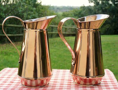 Two Vintage Copper Jugs polished ~ Country cottage kitchen ~ French Chic