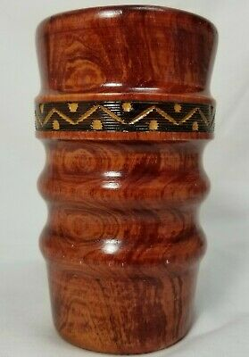 Rare Collectors Item - Carved Wooden Vase With Tribal Design