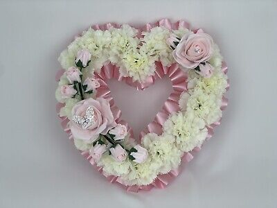 Heart Shaped  Pink Silk Artificial Funeral Flowers Wreath Memorial Grave Tribute